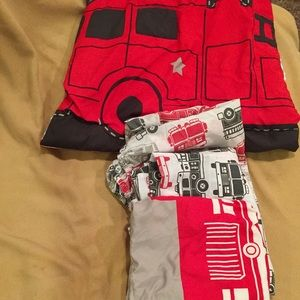 Other - GUC Toddler Boy Red & Grey Firefighter Bedding
